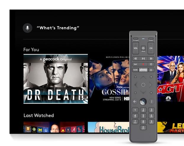 TV que muestra shows y control remoto por voz